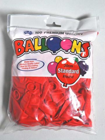 Balloons 30cm Round Red Pack of 100