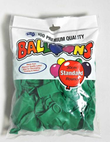 Balloons 30cm Round Green Pack of 100