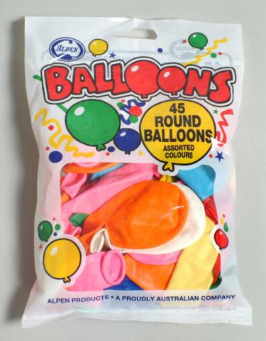 Balloons 23cm Assorted Colours Pack of 45