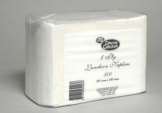 Alpen 1Ply Lunch Serviettes 19gsm 320x320mm White Pack of 500
