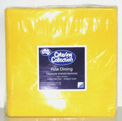 Alpen 2Ply Dinner Serviettes 400x400mm Yellow Pack of 100
