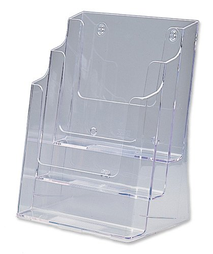 Brochure Holder A4 3 Tier Counter Clear