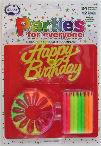 Candles Neon 24 + 12 Holders + Happy Birthday Plaque