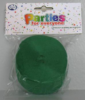 Crepe Streamer 45mm x 30m Green Pack of 1