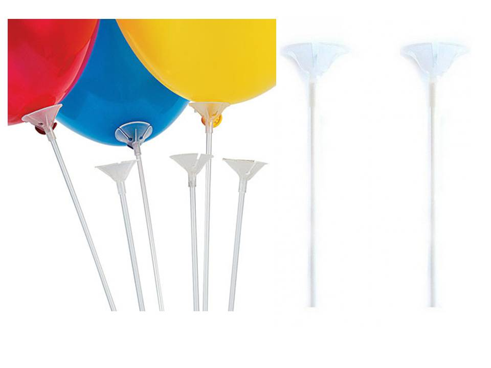 Balloon Sticks White & Fasteners Pack of 12