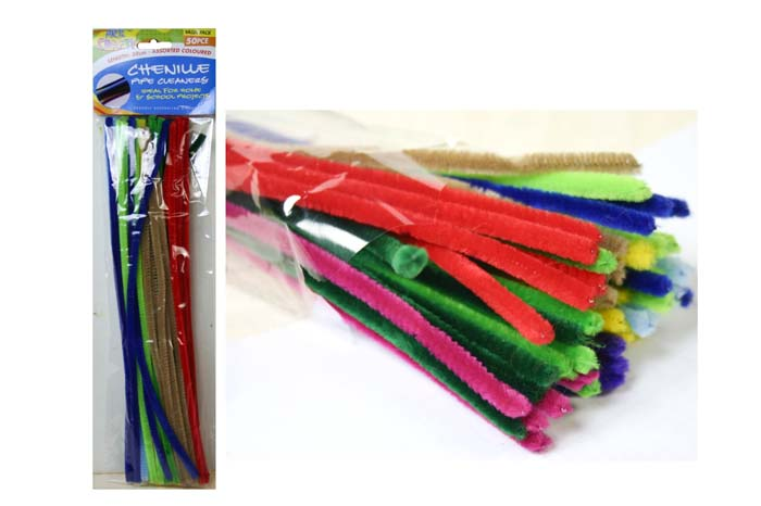 Chenille Stems 6mm Pk 50 10 Colours