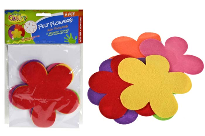Felt Flowers 14cm - Assorted Colours - Pack of 6
