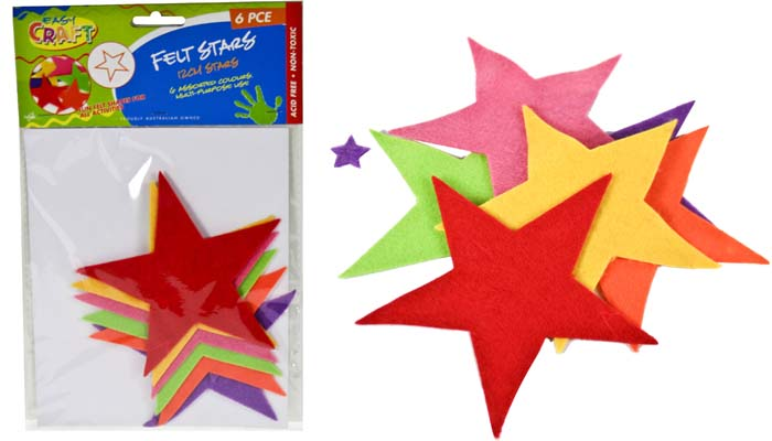 Felt Cut Stars 12cm - Assorted Colours - Pack of 6