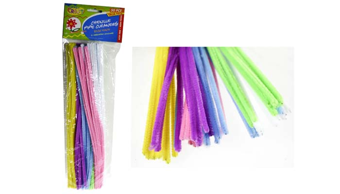 Chenille Stems - 6mm Asst Pastel Colours Pack of 50