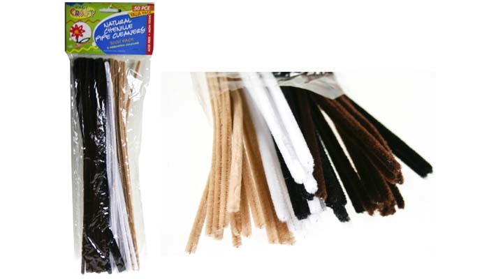 Chenille Stems 6mm Pk 50 Animal Cols (Blk,Brn,Tan,White)
