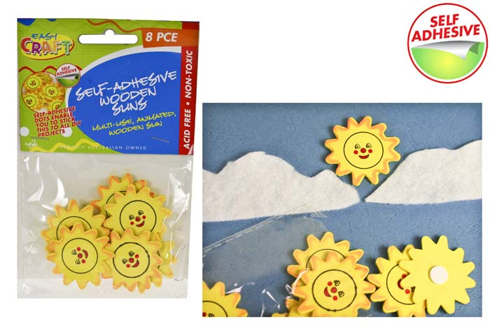 Wooden Suns - Self Adhesive - 3.5cm Pack of 8