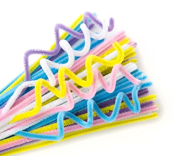 Chenille Stems - 6mm Pastel 5 Colours Pack of 100