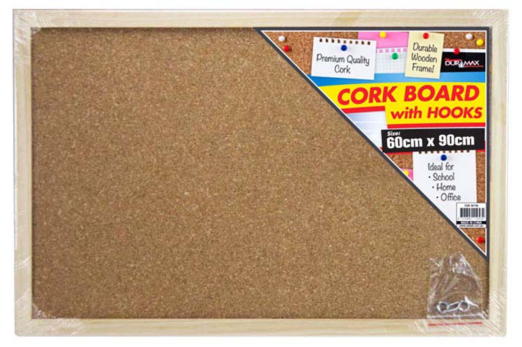 Cork Board ( Wood Frame ) w/hooks 60x90cm