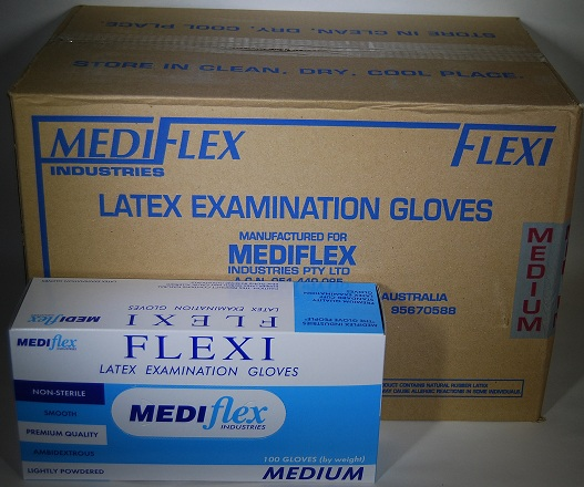 Gloves Latex Pdr.Mediflex Medium 100x10/Ctn