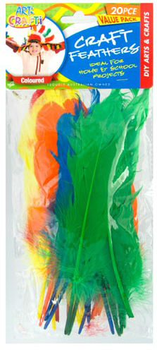 Feathers E.Craft Rigid 17 cm Assorted Colours - Pack of 28
