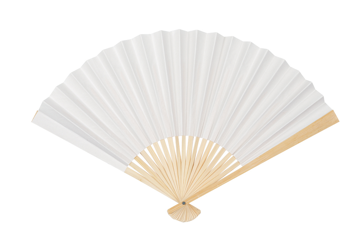 Fans - Bamboo/White Paper 255mm Pack of 24 EC