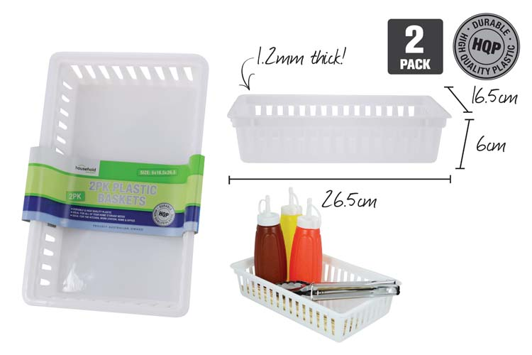 Plastic Baskets White 25.5 x 16.5x6cm PK2
