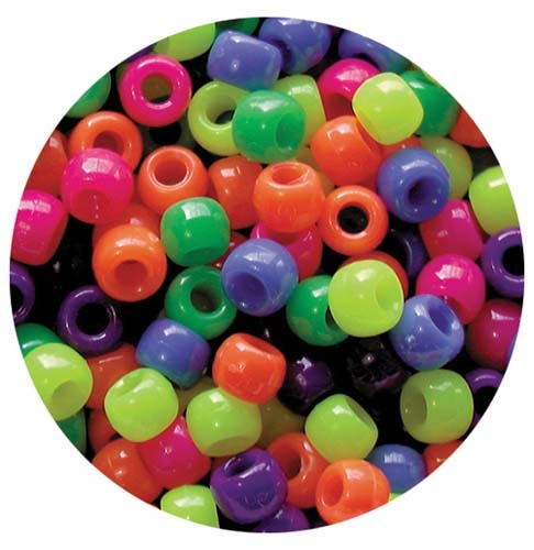 Pony Beads - 10mm Neon Multi-Colour Pack 1600pcs