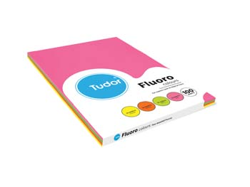 Tudor A4 80gsm 4 Colours Fluoro Pack of 100 Sheets