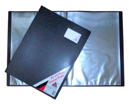 Display Book A3 20 Pocket Black (Non-Refillable)