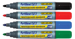 Artline 577 White Board Marker Low Odour Broad Tip Black EACH