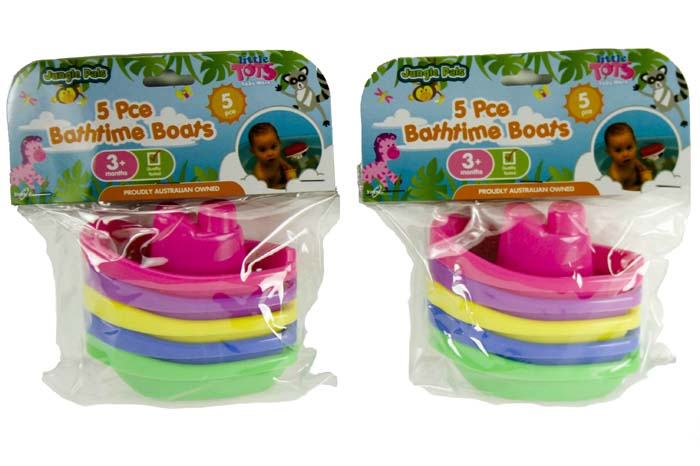 Kids Bathtime Boats Pack of 5 Assorted Colours