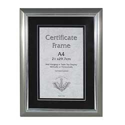 Frame A4 Certificate Frame Silver
