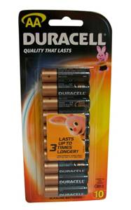 "Duracell Alkaline Battery ""AA"" 10 Pack"