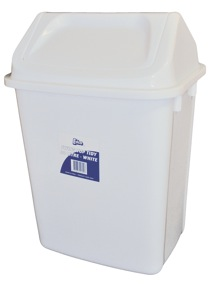 Tidy Bin Rectangular Swing Top White Edco 20L