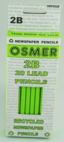 2B Round Lead Pencils Pk 20 Osmer (Enviro Recy. Newspaper)