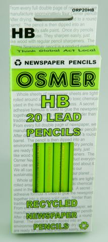 HB Round Lead Pencils Pk 20 Osmer (Enviro Recy. Newspaper)