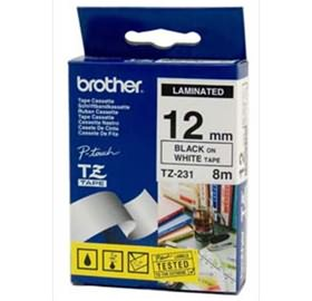 Brother P-Touch Tape TZ231 12mm x 8m Black on White Laminated