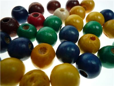 Wood Bead Round 12mm Assorted Colours Pack of 30