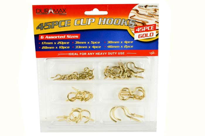 Cup Hooks 6 Sizes Gold Pack of 45
