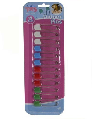 Baby Diaper Pins 4 Assorted Colours Pack of 12